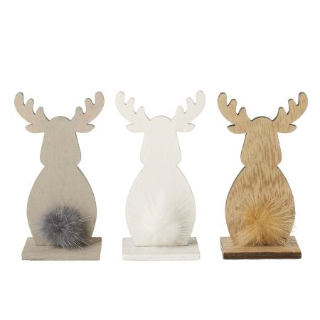 Wooden deer with fluffy tail