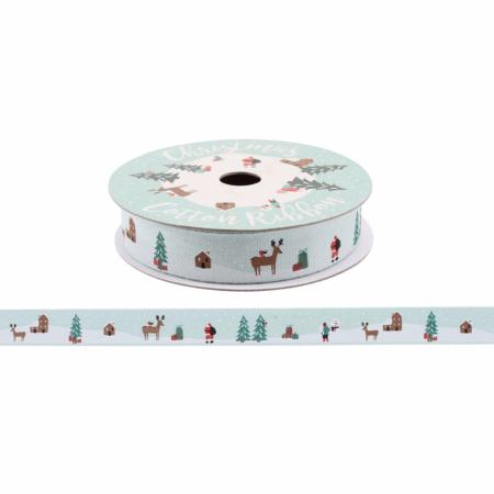 Christmas scene cotton ribbon