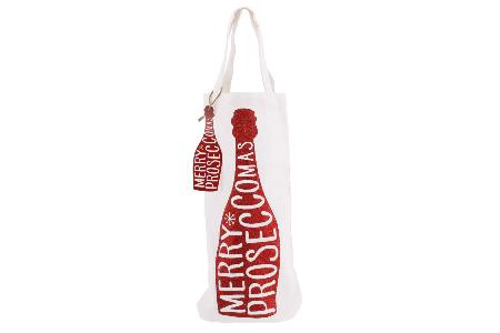 'Merry Proseccomas' red glitter bottle bag