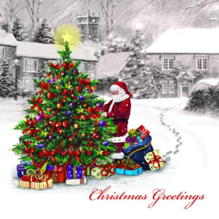 Santa with Christmas tree - 10 cards