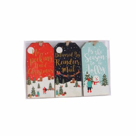 Set of 6 wooden Christmas tag hangers