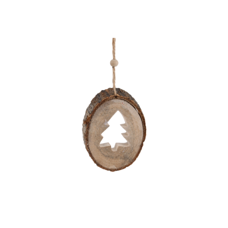 Hanging carved Christmas tree decoration