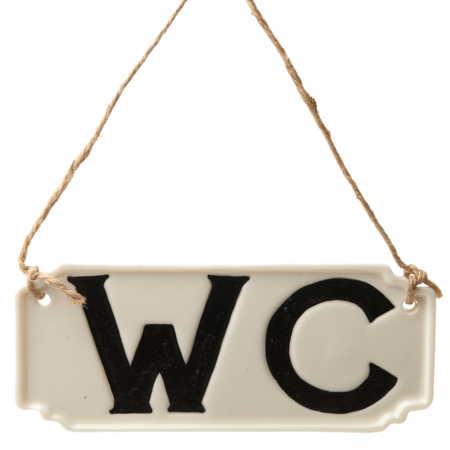 WC porcelain hanging sign