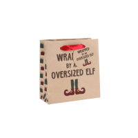 Wrapped by an oversized elf' small gift bag