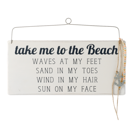 Take me to the beach hanging sign