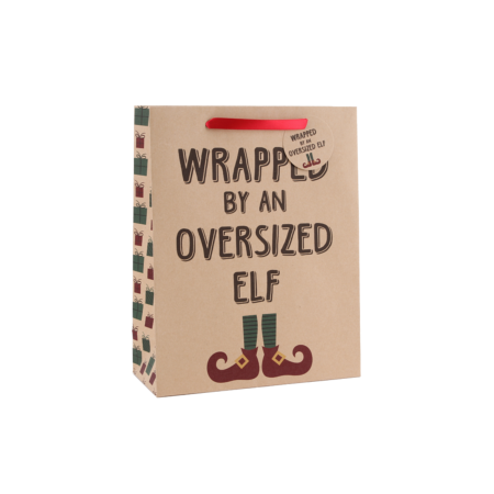 Wrapped by an oversized elf' large gift bag