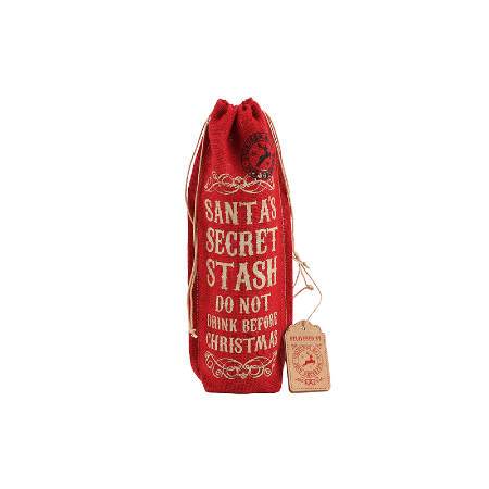 Red hessian bottle bag