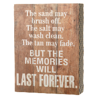 Last forever…' wooden sign