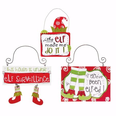 Hanging elf sign