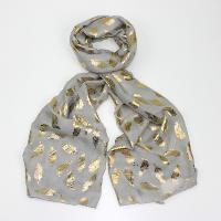 Foil feather whimsy grey scarf