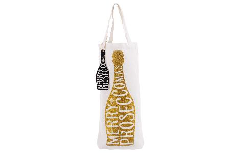 Merry Proseccomas' gold glitter bottle bag