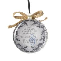 Hanging glass family sentimental bauble