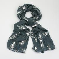Foil peacock feather grey scarf