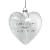 'Feathers appear when angels are near' glass heart