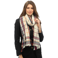 Checked fringe blanket scarf