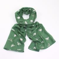 Foil honey bee green scarf