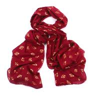 Foil small leaf red scarf